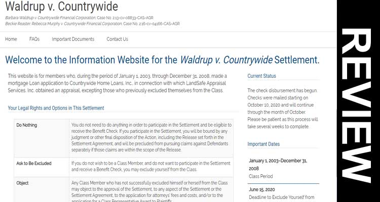Waldrup V Countrywide Settlement Checks Scam 2020