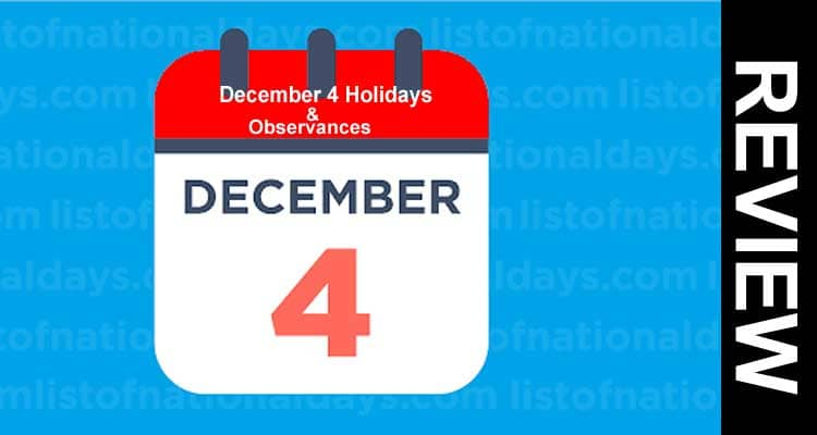 December 4 Holidays & Observances 2020